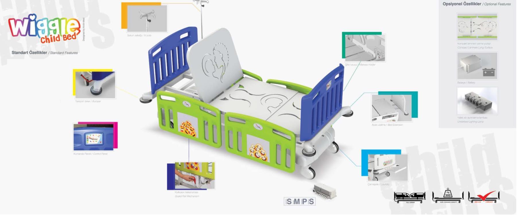 Wiggle Pediatrik Çocuk Hasta Karyolası ( 4 motorlu)